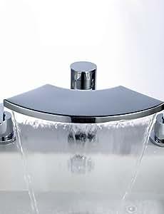 Cascada de latón contemporáneo lavabo del baño grifo