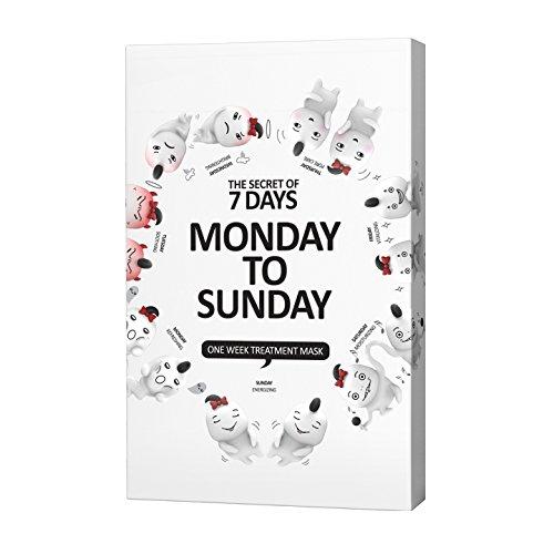 [Monday To Sunday] One Week Treatment Mask Sheet - 7sheets, Moisturizing, Soothing,Nourishing Skin (0.84fl.oz./25ml) Zenic