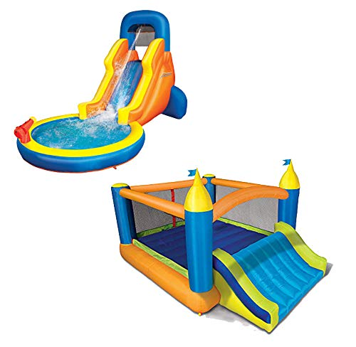 Super Bouncer - BANZAI Fun 2 in 1 Combo Pack Splash Blast Lagoon and Super Slide 'N Bouncer
