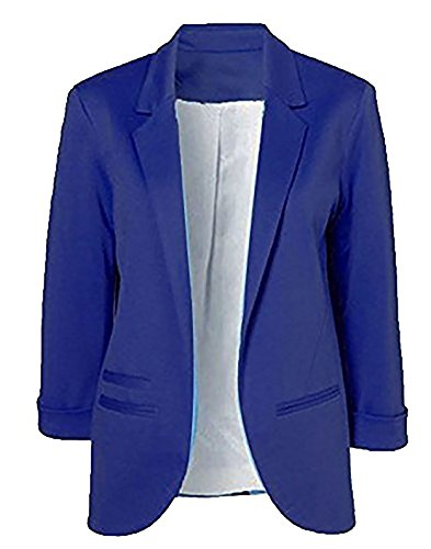 Obazidou Women's Cotton Rolled Up Sleeve No-Buckle Blazer Jacket Suits Medium Blue (Rolled Jacket Sleeve)