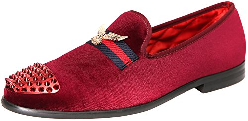 (ELANROMAN Loafers Mens Penny Slip on Genuine Leather Insole Metallic Textured Glitter Loafers Luxury Men Velvet Shoes Wine US 13 EUR 46 Feet lenght 305mm)