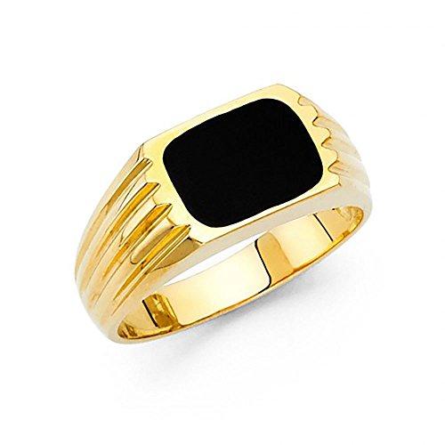 (14k Yellow Gold Rectangle Onyx Men's Retro Ring)