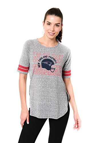 NFL New England Patriots Women's Soft Modal Vintage Logo Short Sleeve T-Shirt Top, Gray, Medium