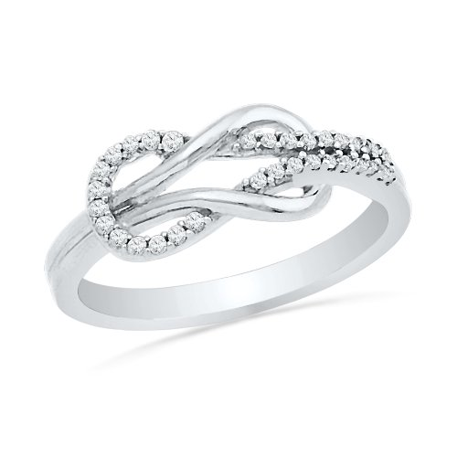 Sterling Silver Round Diamond Twisted Knot Fashion Ring (1/6 cttw),size (Single Knot Ring)