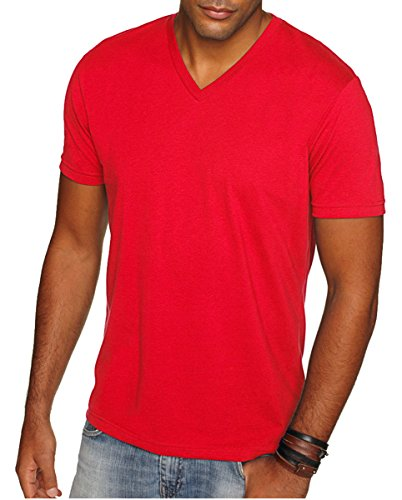 Next Level Apparel 6440 Mens Premium Fitted Sueded V-Neck Tee - Red, Extra Large (Tee Soft V-neck)