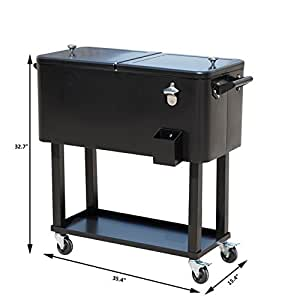 Outdoor Rolling Cooler Cart Ice Beer Beverage Chest Party Portable-80Qt