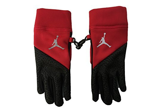Nike Jordan Youth Touch Screen Fleece Tech Gloves (Gym Red (9A1874-R78) /Black/Reflective Silver, 4/7)