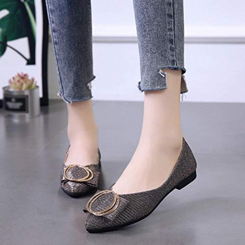 Slip Heel Fashion Flat Gold Single Sequins Pointed Shoes Low Shoes Women FALAIDU Party On Shallow Cptqdw