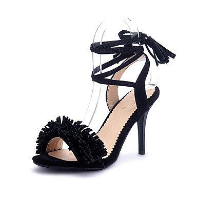 LvYuan Mujer-Tacón Stiletto-Zapatos del club-Sandalias-Oficina y Trabajo Vestido Fiesta y Noche-Sintético Vellón-Negro Rosa Rojo Gris Red