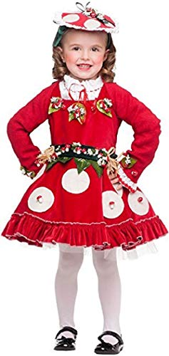 Italian Made Deluxe Baby & Toddler Girls Toadstool Nature Mushroom Flower Fairy Fancy Dress Costume Outfit 1-6 Years (4 -