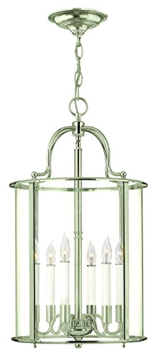 Hinkley 3478PN Traditional Six Light Foyer from Gentry collection in Chrome, Pol. - Foyer Pendant Gentry