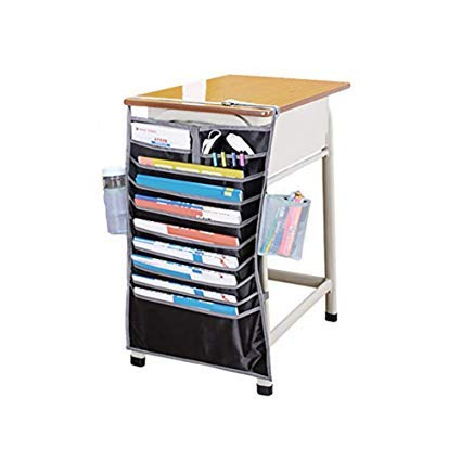 Multi-layer Desk-Side Hanging Storage Bags Adjustable Magazines Book Shelf Storage Bags School Classroom Office Desk Hanging Caddy Organizer Classroom Desktop storage folder 14 Pockets