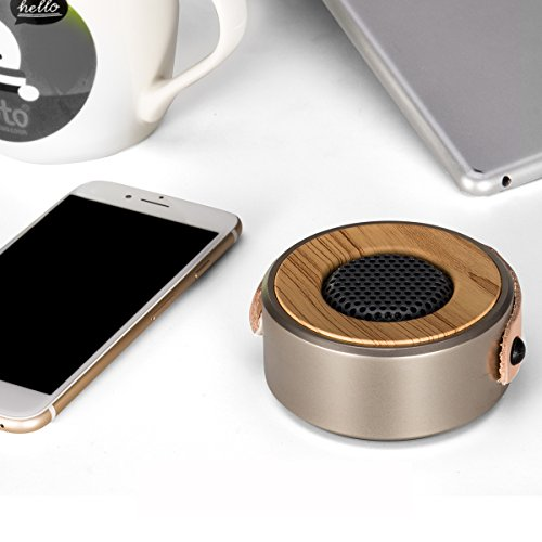 ZoomZam Bluetooth Speakers, Portable Wireless Stereo super bass Bluetooth MP3 Speakers with Built-in Mic Hands-Free Speakerphone, 3.5mm Aux/Line-In and TF Card Play, Gold Photo #2