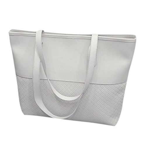 YJYDADA Bag,Woven Handbag Fashion Casual Bag Women Handbag Shoulder Tote Satchel Large Messenger Bag Purse (White) from YJYDADA