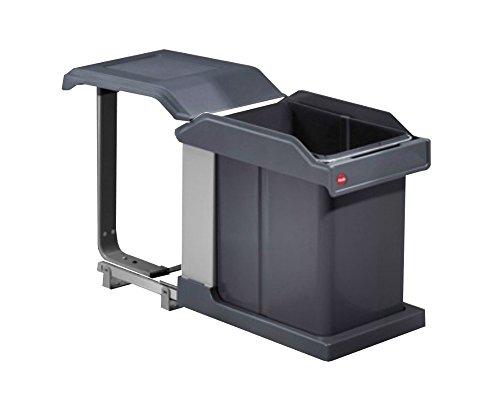 Hailo 3632101 Abfallsammler MS Swing 30.1/20 Solo 20 L Mülleimer mit Volauszug per Hand für den Einbau ab 30 cm Schrankbreite