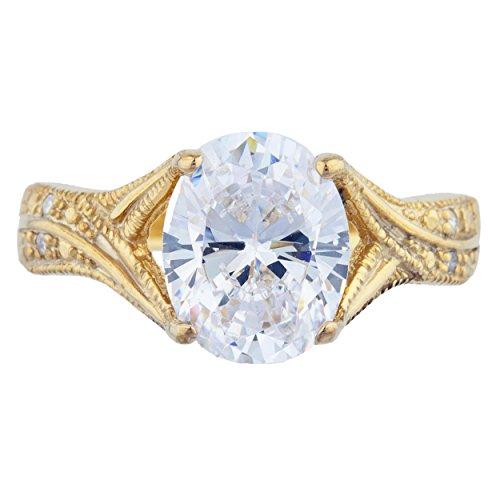 14Kt Gold 3 Ct Zirconia & Diamond Oval Ring ()