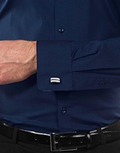 Body Repasser défroissable Vincenzo Col Mélange Facile fit Foncé Kent Particulièrement Tissu Boretti Chemise Coton Homme 1 bleu De Manches Cintrée À Coupe Élastique longues blanc Unie Yx1FYvq
