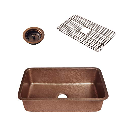 Sinkology SK202-30AC-WG-B Orwell Grid and Strainer Drain Copper Kitchen Sink ()