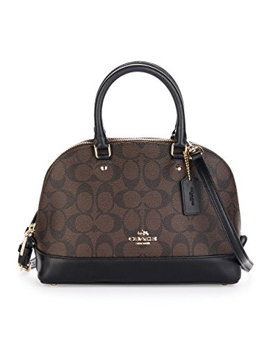 Coach F27583 IMAA8 Mini Sierra Satchel Brown/Black Signature Crossbody Handbag Signature Small Satchel