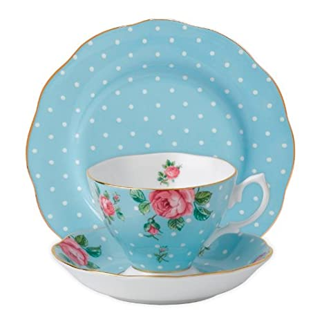 Saucer and Plate Set White Royal Albert 3-Piece New Country Roses Teacup