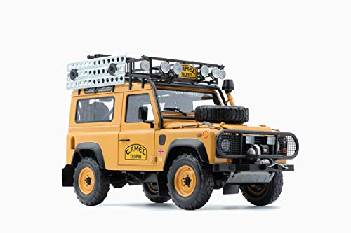 Land Rover Defender 90 Sandglow Orange Camel Trophy Edition with Accessories 1/18 Diecast Model Car by Almost Real 810211