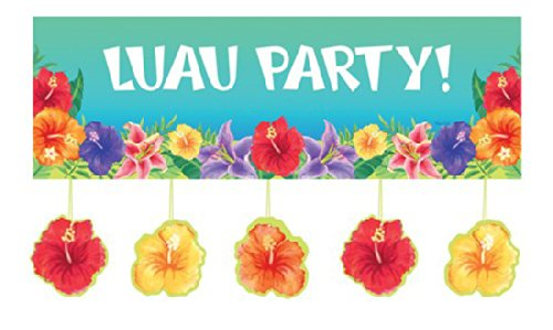 Creative Converting Hibiscus Heat Giant Party Banner with Floral Attachments