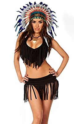 Forplay Women's Rain Dance Halter Top with Fringe Matching Skirt Panty Axe