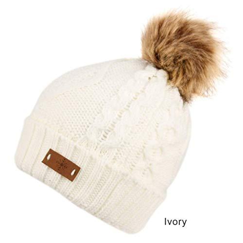 Women's Faux Fur Pom Pom Fleece Lined Knitted Slouchy Beanie Hat (Ivory)