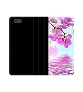 Floral background of Funda Flip Wallet Orchids tropical con tarjeteros y compartimento para billetes iPhone 4 4S 5 5S 6 6S/Samsung S3 S4 S5
