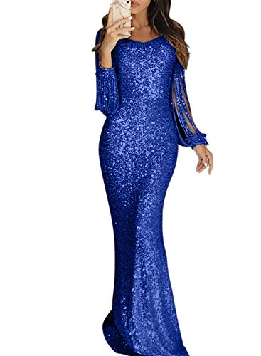 - Elapsy Womens Sequin Fringe Tassel Long Sleeve Luxurious Homecoming Party Cocktail Long Maxi Dress Evening Gown Blue Large