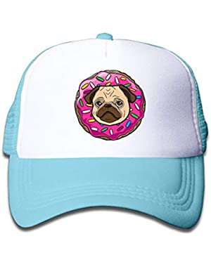 Pug Donut On Boys and Girls Trucker Hat, Youth Toddler Mesh Hats Baseball Cap