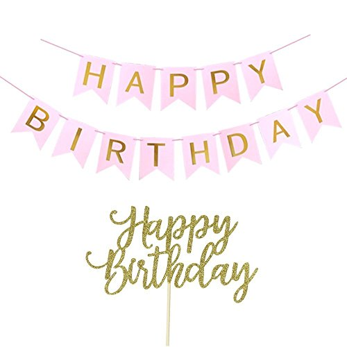 Happy Birthday Banner, Happy Birthday Cake Topper, Pink and Gold