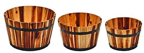 (Worth Imports Sturdy Nested Wood Barrel Planter Set, Small, Medium, Large, 3 Piece)