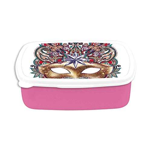 Mardi Gras Utility Plastic Lunch Containers,Venetian Carnival Mask Silhouette with Ornamental Elements Masquerade Costume Decorative for Home,7.09