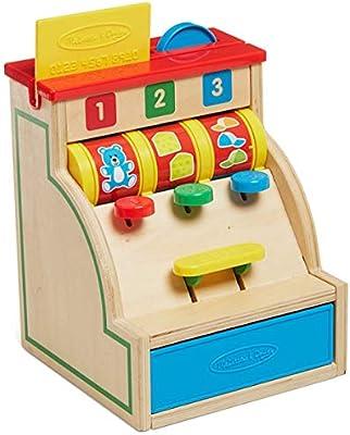 Melissa & Doug – Juguete de actividad 1er edad caja registradora la Mercante de madera juego de bebé Niños: Amazon.es: Bebé