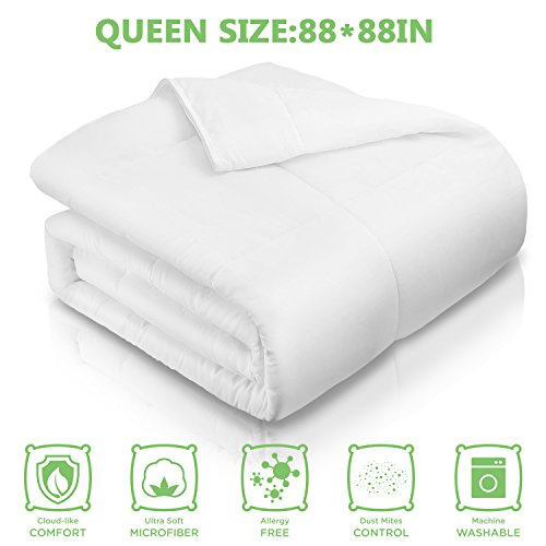 Adoric All-Season White Down Alternative Quilted Comforter with Corner Duvet Tabs, Hotel Quality Duvet Insert Queen (88