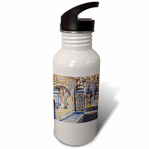 3dRose Danita Delimont - Spain - Spain, Andalusia, Seville. Traditionally decorated Plaza de Espana - Flip Straw 21oz Water Bottle (wb_277896_2) by 3dRose