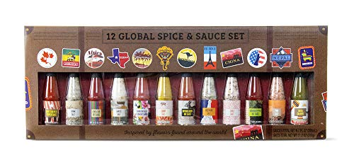 Savory Spice & Hot Sauce: Worldwide Edition | 12 Unique Salts and Hot Sauces for use on Pizza, Chicken Wings, Salad, and More