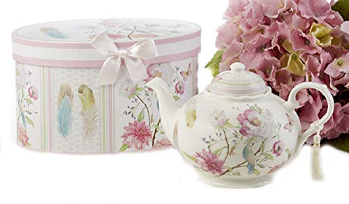 Delton Products Feather & Floral 9.5 inches x 5.6 inches Porcelain Tea Pot in Gift Box - Delton Teapot