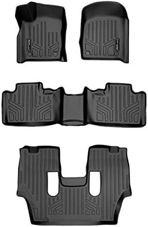SMARTLINER Custom Fit Floor Mats 3 Row Liner Set Black for 2016-2021 Dodge Durango with 2nd Row Bucket Seats