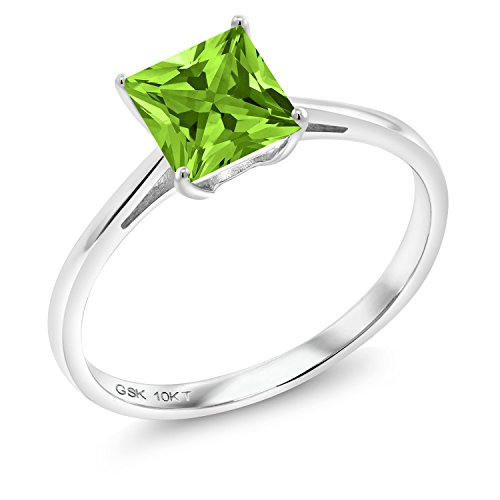 Gem Stone King 1.03 Ct Princess Green Peridot 10K White Gold Ring (Size 5)