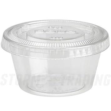 Paquete de Empire® - Plástico transparente 2 oz ollas tapas para salsas y aderezos, color transparente 2oz: Amazon.es: Oficina y papelería