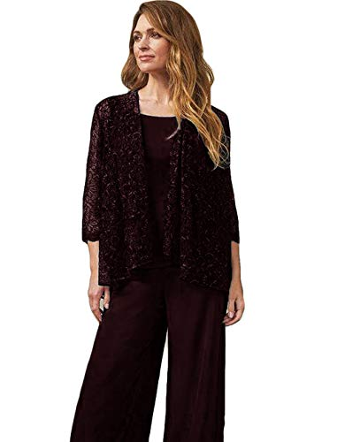 The Peachess Mother of The Bride Pant Suits Jewel Neck Chiffon Plus Size Long Sleeve Wedding Guest Dress with Jacket Burgundy