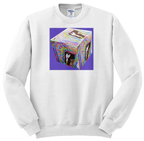 Jos Fauxtographee- 3D Cube Faux Doll - A 3D Cube on Purple with a Brunette jos Faux Doll - Sweatshirts - Youth Sweatshirt Med(10-12) (ss_304189_11)