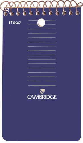 Mead Cambridge Wirebound Memo Book, College Ruled, 3 x 5 Inches, Navy, 70 Count, 12 per Pack (45755) ()