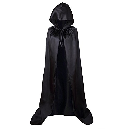 Long Black Dress Halloween Costumes (Halloween Hooded Cloak Cosplay Costume(Black))