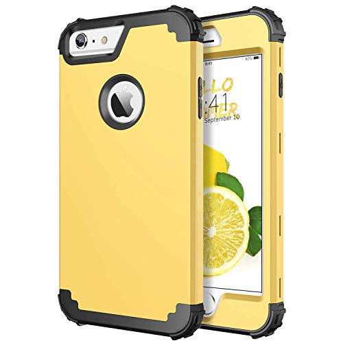 DUEDUE iPhone 6S Plus Case,iPhone 6 Plus Case,Heavy Duty Rugged Shockproof Drop Protection 3 in 1 Hybrid Hard PC Cover Soft Silicone Bumper Full Body Protective Case for iPhone 6 Plus/ 6S Plus,Yellow