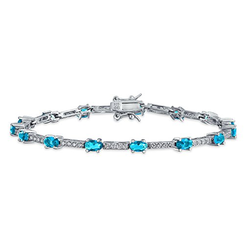 Vintage Style Simulated Aquamarine CZ Tennis Bracelet Silver by Bling Jewelry (Image #1)