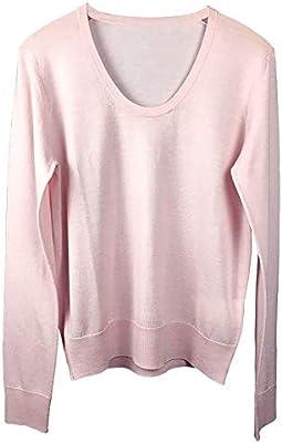 Lixibei Camisa de Fondo de Punto, otoño Nuevo suéter con Cuello en U Camisa de Fondo de Punto Suelto de Lana Pura para Mujer Tops Sudaderas de Hilo Ropa de Mujer,Rosado: Amazon.es: