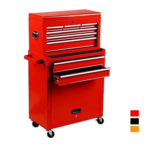 2Pcs Tool Storage Box Portable Top Chest Rolling Tool Box Organizer Sliding Drawers Cabinet Keyed Locking System Toolbox Red